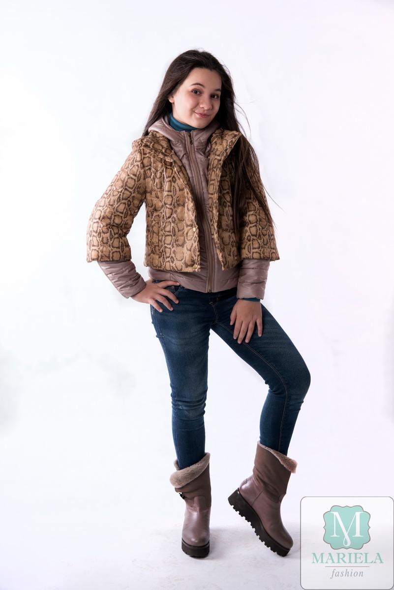 Двойная подростковая куртка арт. 88805 (горчичный питон)