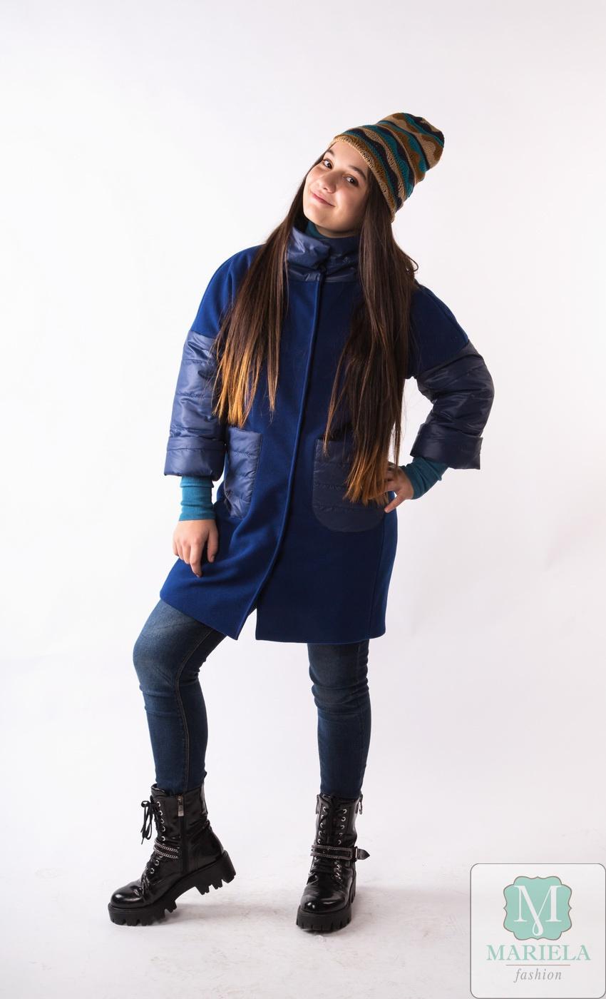 Пальто подростковое для девочки  арт.88808 (синий) фирмы Mariela