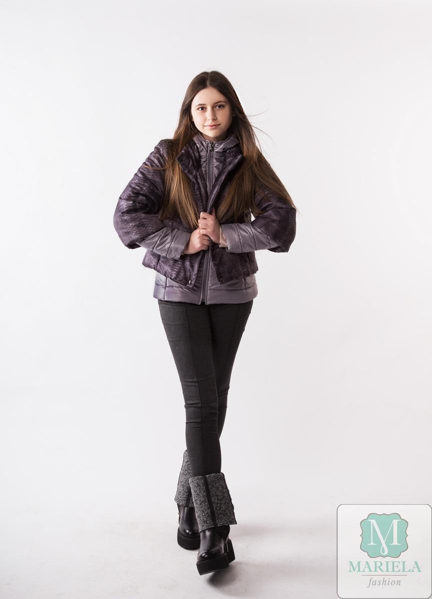Двойная подростковая куртка арт. 88805 (серый питон)