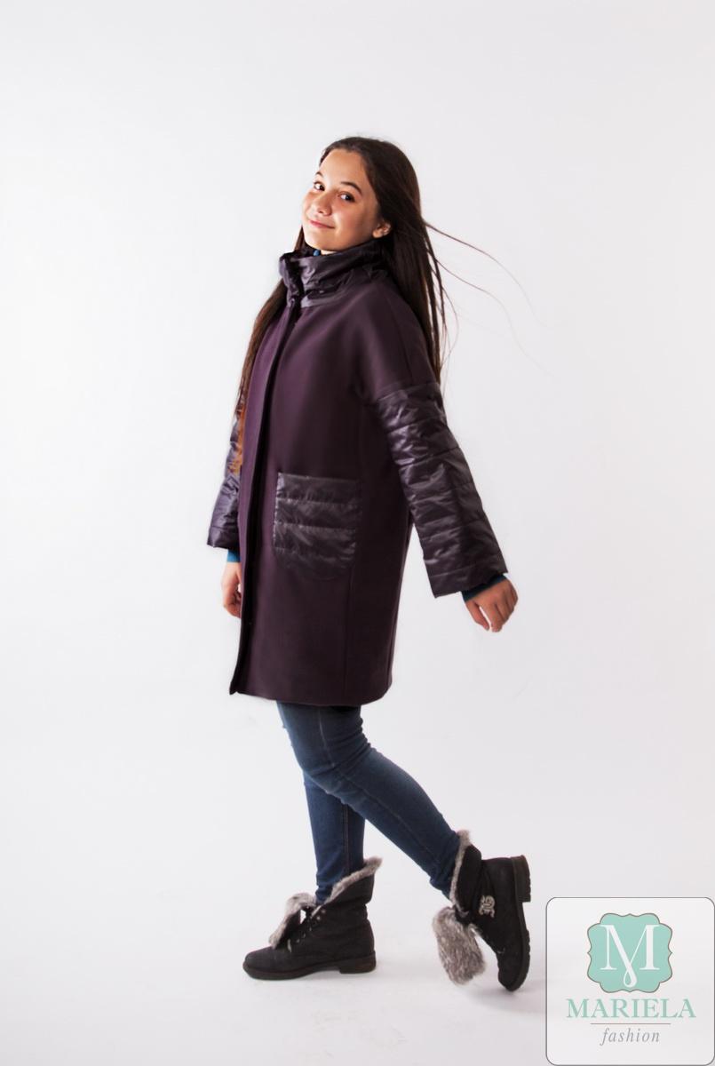 Пальто подростковое для девочки  арт.88808 (сливовый) фирмы Mariela