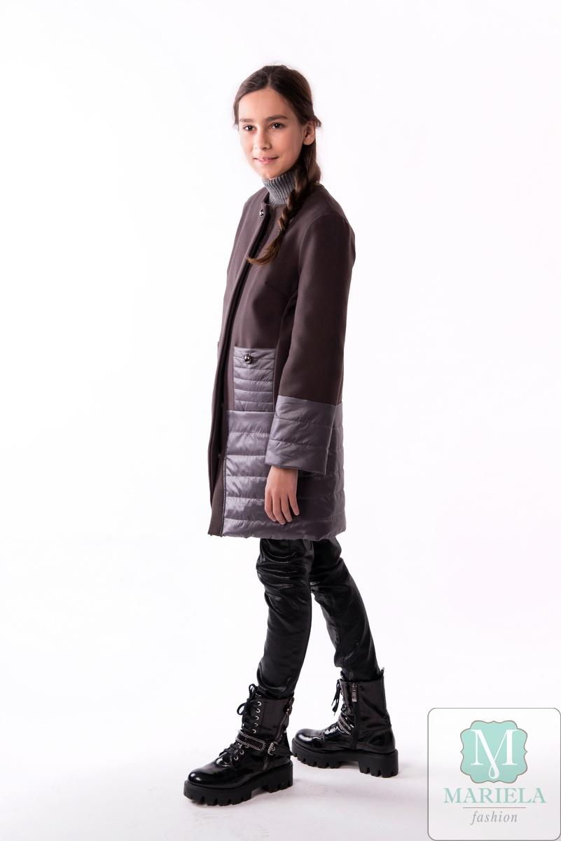 Пальто подростковое для девочки  арт.88809 (антрацит) фирмы Mariela