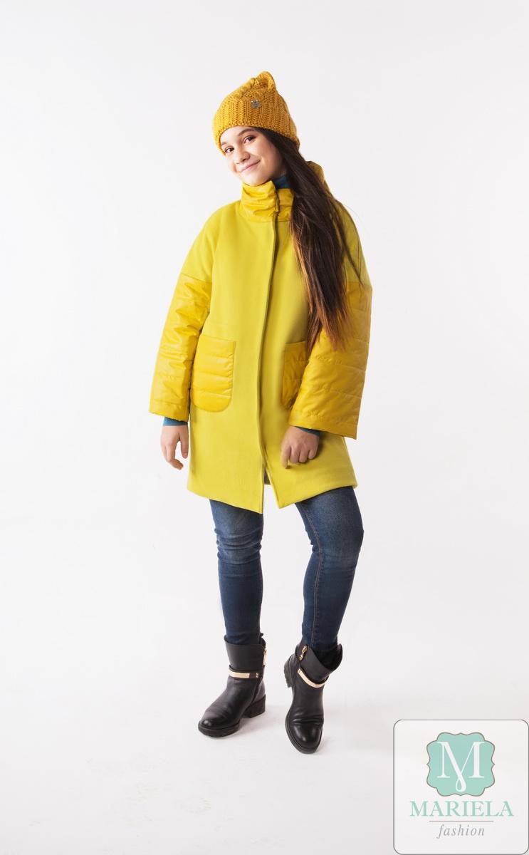 Пальто подростковое для девочки  арт.88808 (желтый) фирмы Mariela