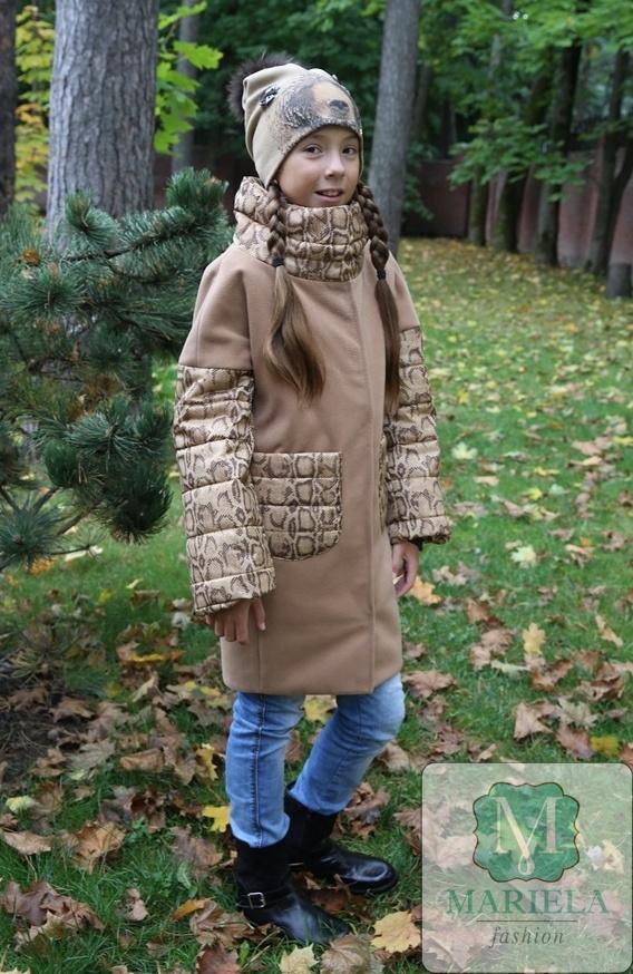 Пальто с жилетом арт.88801 (цвет темный песок, рукава питон) фирмы Mariela