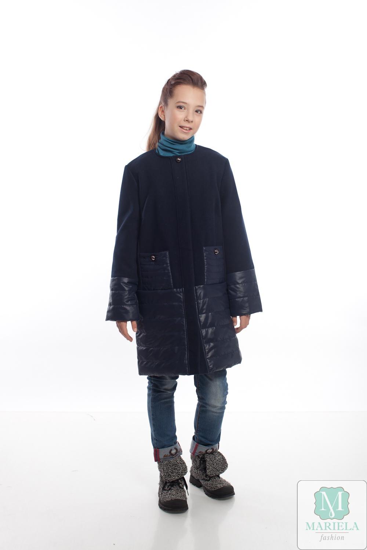 Пальто подростковое для девочки  арт.88809 (темно-синий) фирмы Mariela