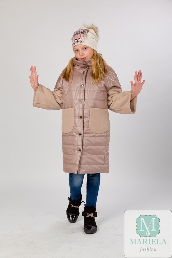 Пальто подростковое для девочки  арт.88807 (бежевый) фирмы Mariela